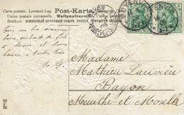 MOYENVIC 14 Septembre 1908 N°68 X2 Type Germania Pour Bayon - CP Gaufrée Bonne Fête - Alsazia-Lorena