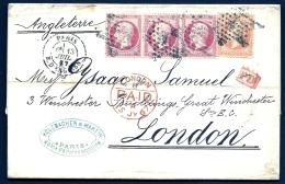 BELLE LETTRE CLASSIQUE FR. POUR LONDRES- TIMBRAGE RARE A 2,80fr- BANDE 3 N°24 + N°23a- PD ROUGE + TAMPON PAID -2 SCANS - Marcophilie (Lettres)