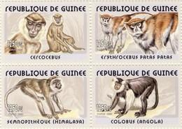 Guinea 2002, Animals, Monkeys, 4val - Guinea (1958-...)