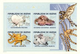 Guinea 2002, Animals, Octopus, 4val In BF - Guinea (1958-...)