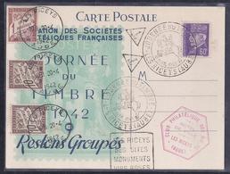 Carte Federale Journee Du Timbre 1942 Les Riceys Petain Taxe Daguin - France