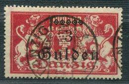 """6819 - DANZIG - Mi.Nr. 189 II - Gestempelt, Plattenfehler """"u"""" In Gulden Unten Offen - Infla Gepr. (ohne Plattenfehler) - Gebruikt"""