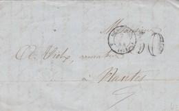 Lettre Cachet MARSEILLE Bouches Du Rhône 1854 Taxe Double Trait 30 Pour Nantes Passe Paris Route20 - 1849-1876: Klassieke Periode