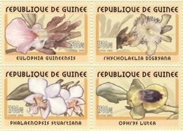 Guinea 2002, Flora, Orchids, 4val - Orchideeën