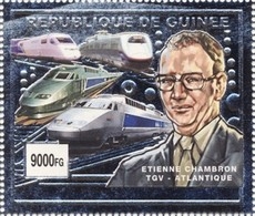 Guinea 2002, Modern Trains, 1val SILVER - Guinee (1958-...)