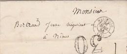 Lettre Cachet MARSEILLE Bouches Du Rhône 1855 Taxe Double Trait 30 Pour Nimes Gard - 1849-1876: Klassieke Periode