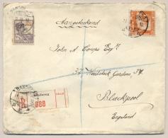 Nederlands Indië - 1936 - 32,5c Scheepje En 12,5c Kreisler, Mengfrankering Op R-cover Van Bandoeng/7 Naar Blackpool / UK - Nederlands-Indië