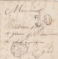 Lettre Cachet ST JEAN DU GARD 1854 Taxe Double Trait 30 Pour Nimes Gard - 1849-1876: Klassieke Periode