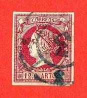 España. Spain. 1860 - 1861 (o) Edifil 53. Isabel II. 12 Cuartos. Carmin S. Anteado - 1850-68 Reino: Isabel II