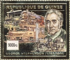 Guinea 2002, Old Trains, 1val GOLD - Guinea (1958-...)