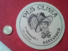 POSAVASOS COASTER (TENGO MÁS POSAVASOS VER) PUB OLIVIA SANTANDER PASEO CANALEJAS 1 IDEAL COLECCIÓN. MUJER SOMBRERO - Beer Mats
