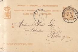 Luxemburgo  Año 1884  Entero Postal   Circulado Matasellos  Luxembourg Ville, Redange - Ganzsachen