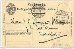 45 - 88 - Entier Postal 5cts Avec Cachets à Date De Luzern Et Winterthur 1907 - Postwaardestukken