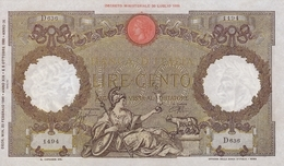 BANCA D ITALIA-100 LIRE -UNC-FDS-COPY-RIPRODUZIONE - [ 1] …-1946 : Kingdom