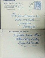 O)1909 APROX. FIJI, KING ALFONSO XLL-3p.BLUE, POSTAL STATIONERY TO BRAZIL - Fiji (1970-...)