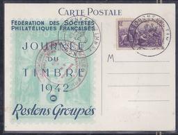 Carte Federale Journee Du Timbre 1942 Lyon Vendanges - Briefe U. Dokumente