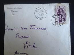 Enveloppe 24/02/45 Résidence De France Ventiane Au Laos-tampon Laotien Au Dos - Laos