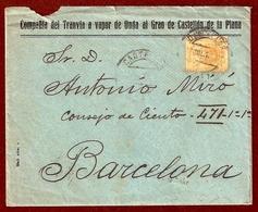 N.º 271. Carta Circulada De Castellón A Barcelona El 23 De Julio De 1918. Con Membrete De La Compañía Del Tranvía A Vapo - 1889-1931 Kingdom: Alphonse XIII