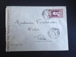 Enveloppe 08/03/4? Contrôle Postal Militaire + Tampons Au Dos Hanoi-Annam - Guerres - Autres