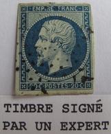LOT R1752/254 - NAPOLEON III N°14Ad Bleu Sur Vert ☛ Timbre Signé BRUN Expert - ETOILE MUETTE DE PARIS - Cote : 180,00 € - 1853-1860 Napoléon III