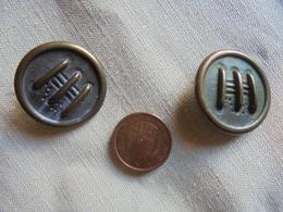 Ancien - 2 Boutons Métal Couleur Cuivre - Buttons