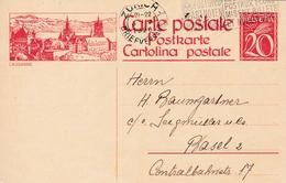 Bildpostkarte 20 Cts Rot Mit Bild Lausanne, Mit Schriftabstand 1 Mm - Entiers Postaux