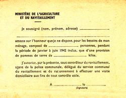 Guerre 1940-1945 Ministère Du Ravitaillement - 1939-45