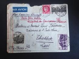 Enveloppe 23/07/41-Lyon-Laos- Contrôle Militaire Par Avion-multiples Tampons Au Dos - Andere Oorlogen
