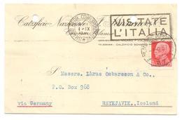 Italien, Milano 1937 Nach Reykjavik, Island - Iceland - 1900-44 Victor Emmanuel III.