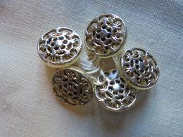 Ancien - Petit Lot De 5 Boutons Dorés - Buttons
