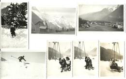 Chamonix, Mont Blanc, Vallee, Sky, Luge, Station, Lot De 7 Photos, 1947   (bon Etat)  Dim: Divers Format. - Places