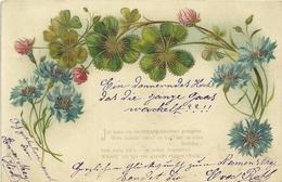 Fantaisie Cpa 2 Cartes Trefle Kleeblatt Gruss Poeme 1902 1908 - Nieuwjaar