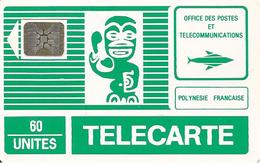CARTE°-PUCE-POLYNESIE-60U-PF1B -SC5-An-Trou 6-TIKI VERT-3é Série-V° Blanc-5 Pe15528-GD LOGO SCHLUM-TBE- - French Polynesia
