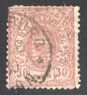 1875  Armoiries  Impression Locale  30 Cent.  No 33  Oblitéré   Dents Courtes  Angle Inf. Droit Réparé - 1859-1880 Coat Of Arms