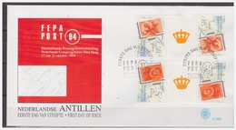 Antillen / Antilles 1994 FDC 258 BPA Stamp On Stamp Gutterpair - Curaçao, Antilles Neérlandaises, Aruba