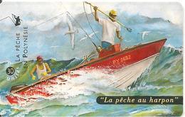 CARTE°-PUCE-POLYNESIE-30U-PF83-GEMB-99/04-PECHE AU HARPON-UTILISE-TBE- - French Polynesia