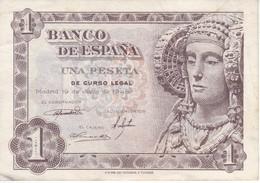 BILLETE DE 1 PTA DEL AÑO 1948 SERIE I CALIDAD MBC (VF)  DAMA DE ELCHE  (BANKNOTE) - [ 3] 1936-1975 : Regency Of Franco