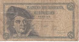 BILLETE DE ESPAÑA DE 5 PTAS DEL 1948 SERIE F CALIDAD RC (BANKNOTE) - 5 Pesetas