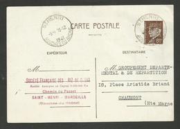 Horoplan ST HENRI - BOUCHES DU RHONE / Entier Petain 1941 >>> MARSEILLE - 1921-1960: Modern Period