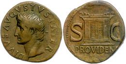 146 Augustus, 27 V. Chr. - 14. N. Chr., As (10,91g), Rom, Geprägt Unter Tiberius. Av: Kopf Nach Links, Darum Umschrift.  - Roman