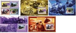 Guinea 2006, Steam Trains, 4val In BF+4BF - Guinea (1958-...)