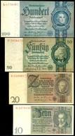 2727 Weimarer Republik/Drittes Reich, 10, 20, 50 Und 100 Reichsmark, Ro. DEU-183, 184, 210 Und 211 (173-176), 10 Reichsm - [ 2] 1871-1918 : German Empire