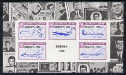 2820 Guernsey - Alderney 1965 Europa Overprint On Aircraft Imperf Deluxe M/sheet Surrounded By Montage Of Kennedy Stamps - Kennedy (John F.)