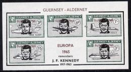 10149 Guernsey - Alderney 1965 John F Kennedy Overprint On Aircraft Imperf M/sheet Additionally Opt'd Europa In Error, U - Kennedy (John F.)