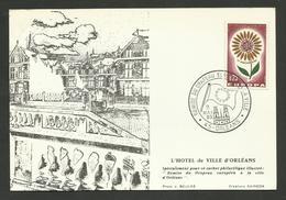 """Mai 1965 - ORLEANS """" Remise Du Drapeau Européen à La Ville """" / Carte Laboratoires Servier - Poststempel (Briefe)"""