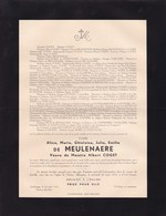 GAND AKKERGEM Alice De MEULENAERE Veuve Albert COGET 1876-1954 Faire-part BRAECKMAN - Décès