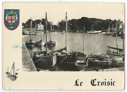 36 - LE CROISIC (44) - Le Port - Bassin Du Perthuy Du Roy - Bateaux - CPSM N&B 1956 Blason Couleur -Scan Recto-verso - Le Croisic