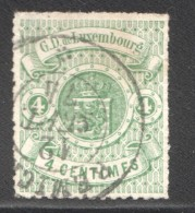 Armoiries Percé En Lignes Incolores  4 Cent Vert No 15  Oblitéré - 1859-1880 Coat Of Arms