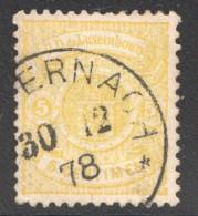 Armoiries Dentelé 13  5 Cent. Citron   No 29   Oblitéré - 1859-1880 Armoiries