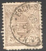 Armoiries Dentelé   20 Cent. Brun    No 44  Oblitéré - 1882 Allégorie